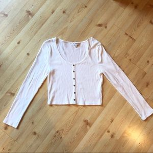 White Ribbed Crop Top Long Sleeve